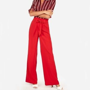 Express high rise wide leg paper bag red pants m